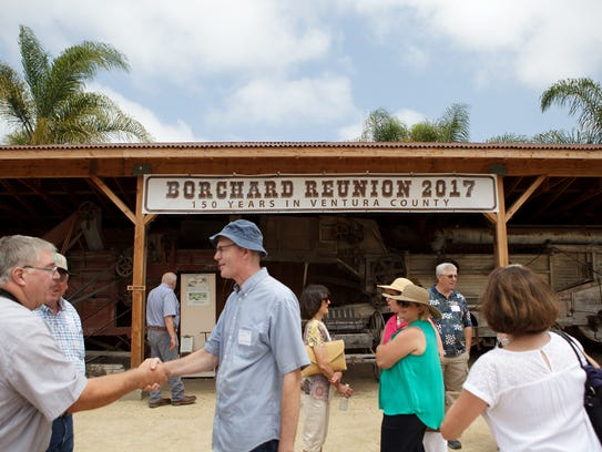 Family members greet each other during the Borchard