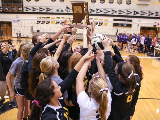 Avon celebrates its sectional title from last season.