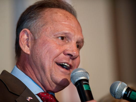 U.S. Senate candidate Roy Moore speaks during his election