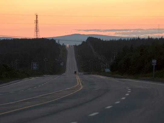 The sun sets over the Trans-Canada Highway in Gander.