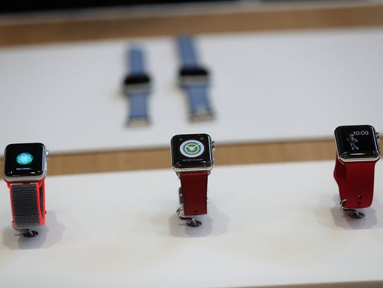 The new Apple Watch Series 3 is displayed during an