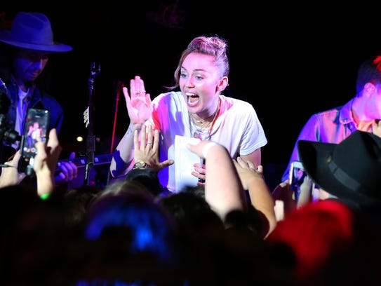 Miley Cyrus performs at a private concert at Tootsie's