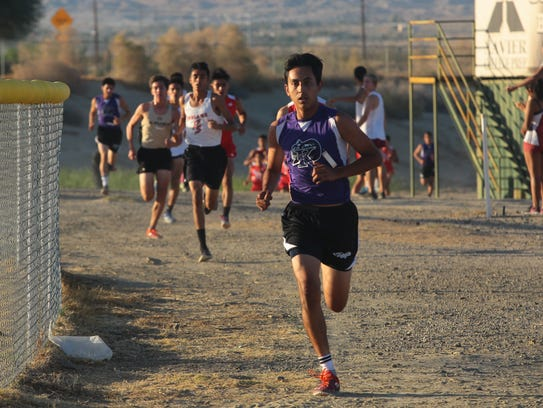 Isaiah Gonzalez leads through the first loop of the