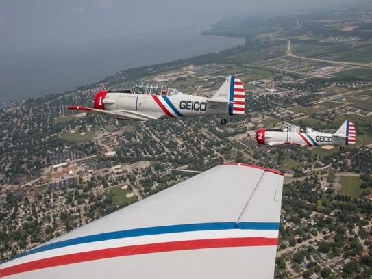 The Geico Skytypers Airshow Team heads toward Lake