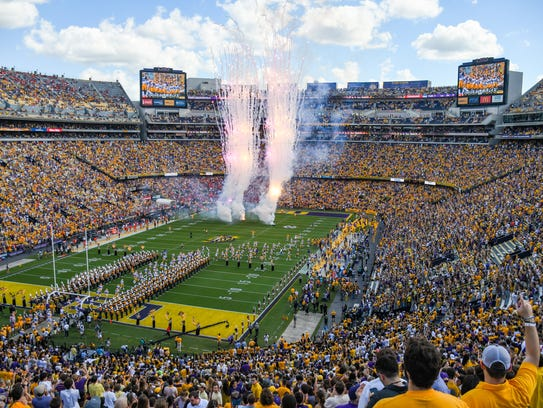 The LSU Tigers take the field to take on the Auburn