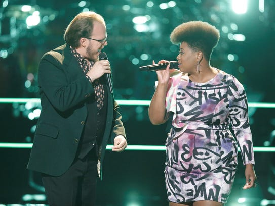 """Lucas Holliday and Meagan McNeal performed Bobby Brown's 1988 hit, """"My Prerogative"""" during the battle rounds on """"The Voice"""" Monday, Oct. 16."""