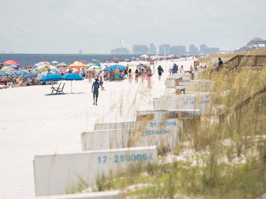 Highrise buildings of Destin can be seen in the distance