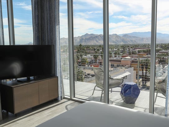 A suite in The Rowan Palm Springs offers amazing elevated views of the city.