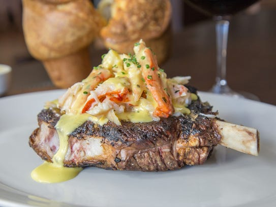 Prime Bone-in Rib Eye with King Crab Oscar.