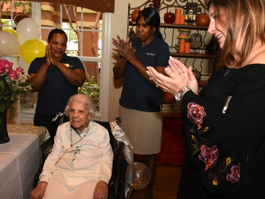Family members and residents at Brookdale Senior Living