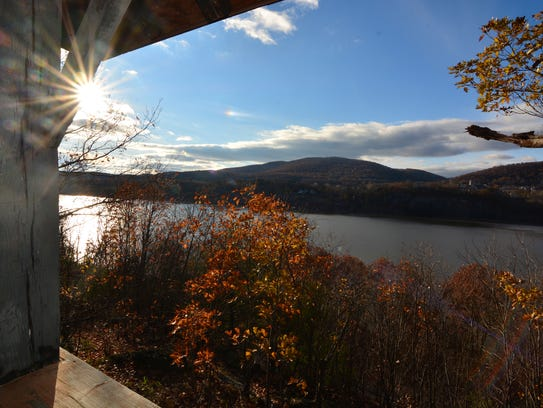 The gazebo on the trail offers more views of the Hudson