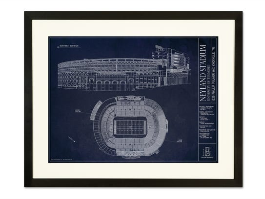 Pictured here is a framed blueprint of Neyland stadium.