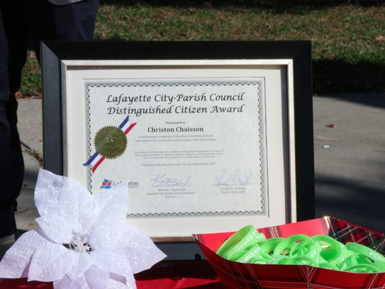 A Distinguished Citizen Award from the Lafayette City