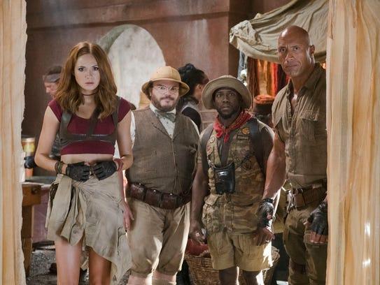 Karen Gillan, from left, Jack Black, Kevin Hart and