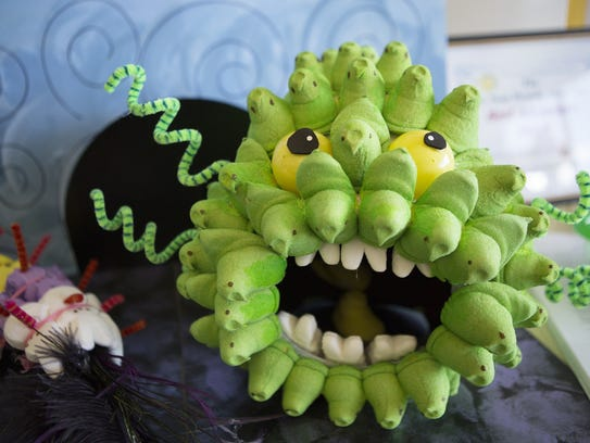 A monster made of green Peeps.