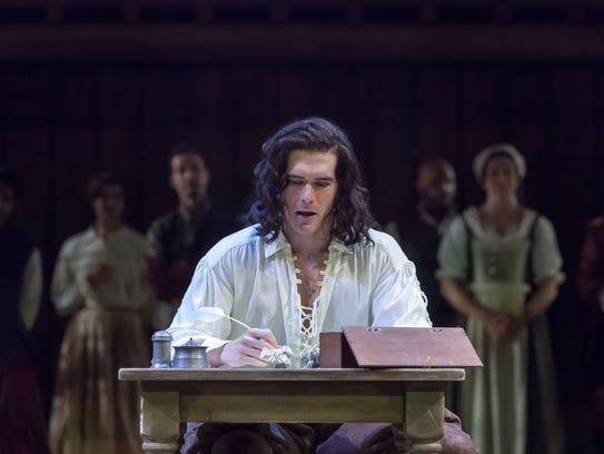 Nicholas Carrieré, as Will Shakespeare, is seen battling