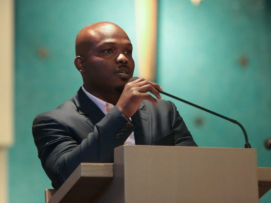 Timothy Bradley Jr., speaks at the Martin Luther King