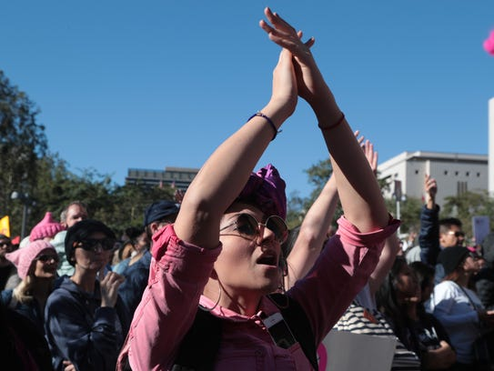 Thousands gather in Grand Park for the LA Women's March,