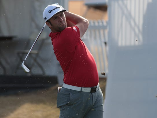 Jon Rahm tees off at the 10th hole of the Career Builder