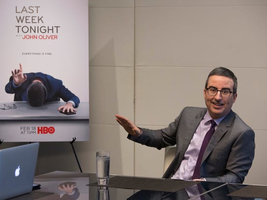 "John Oliver teased the press at a breakfast in New York on Feb. 12, 2018. The host talked about Season 5 of HBO's ""Last Week Tonight"" without actually talking about it."