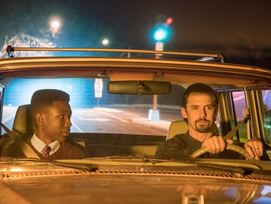 """Randall (Niles Fitch) and Jack (Milo Ventimiglia) have a conversation after leaving Howard University in a recent episode of """"This is Us"""" written by Delaware native Shukree Tilghman."""
