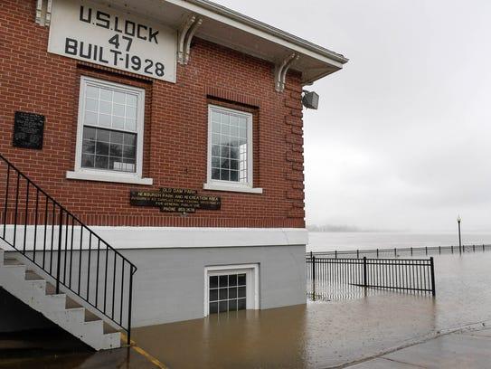 Ohio River flood waters surround the old U.S. Lock