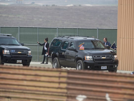 President Trump's motorcade arrives to survey the eight