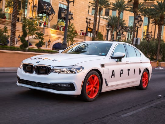 The APTIV vehicle with autonomous technology drives on the strip Friday, Dec. 1, 2017 in Las Vegas, Nevada.