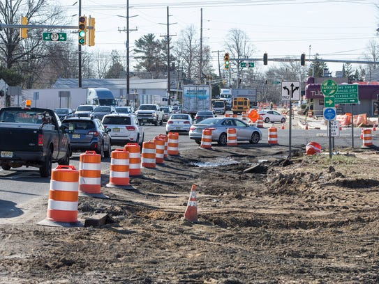 Construction continues at the intersection of Routes