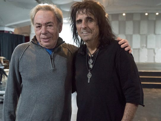 """""""Jesus Christ Superstar' composer Andrew Lloyd Webber, left, poses with Alice Cooper."""