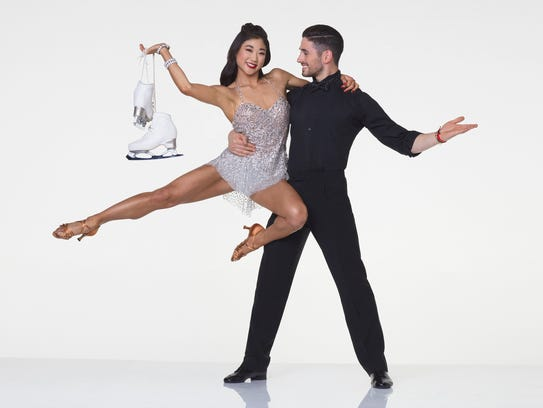 Ice skater Mirai Nagasu with her partner, Alan Bersten