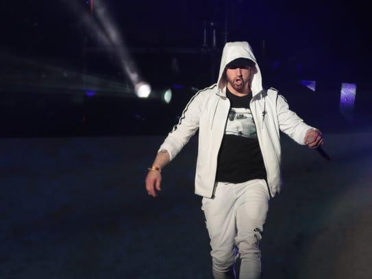 April 15, 2018; Indio, CA, USA; Eminem performs at