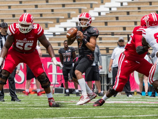 UL quarterback Andre Nunez completed 10 of his 15 pass attempts in Saturday's spring game at Cajun Field.