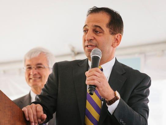 Sam Shaheen speaks during the groundbreaking ceremony
