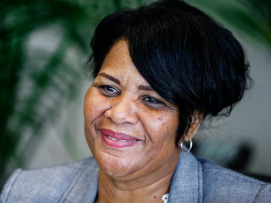 Alice Marie Johnson smiles during an interview at her