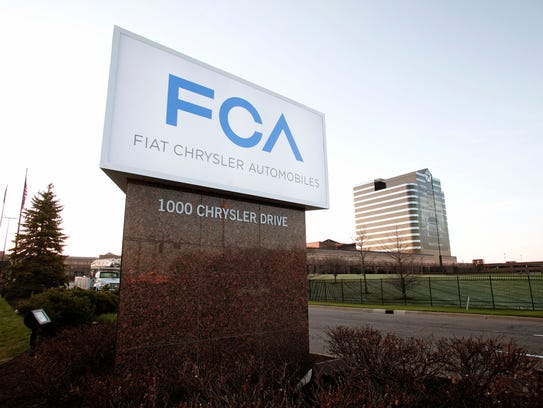 The new Fiat Chrysler Automobiles' FCA logo on the