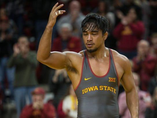 Iowa State's Dane Pestano celebrates after wrestling
