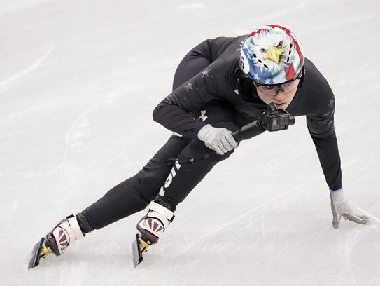 United States' Jessica Kooreman during a short track speed skating training session prior to the 2018 Winter Olympics in Gangneung, South Korea, Tuesday, Feb. 6, 2018.