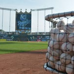 A general view of the stadium and practice baseballs before the game between the Kansas City Royals and Detroit Tigers at Kauffman Stadium.