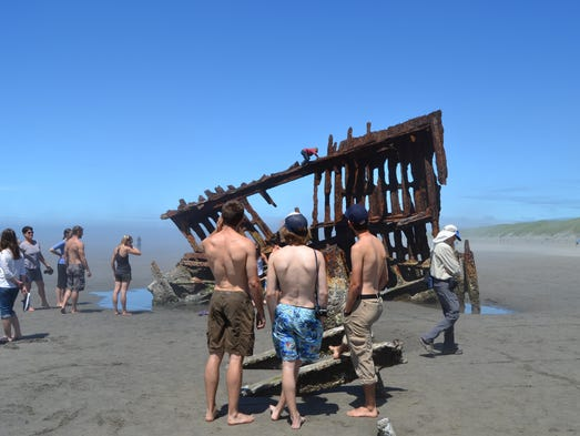 The Peter Iredale shipwreck at Fort Stevens State Park.