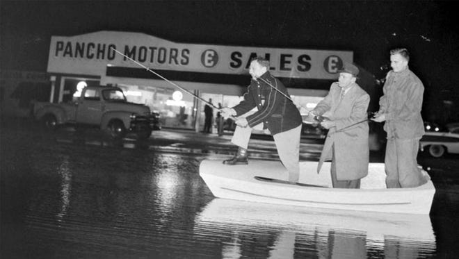 This photo from the Daily Journal archive shows the 500 block of N. East Avenue in 1958 while the road was flooded.