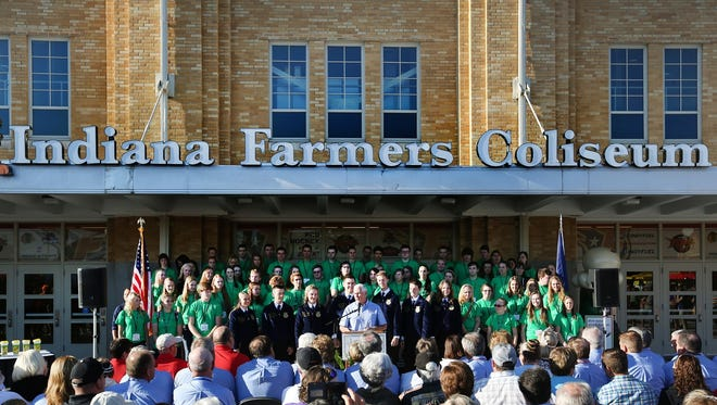 Indiana Farmers Coliseum, where Gov. Mike Pence welcomed visitors to opening day of the 2015 Indiana State Fair, will host no concerts during the 2016 fair.