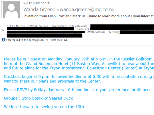 A January 2015 email from former Buncombe County manager Wanda Greene to top business leaders inviting them to a dinner reception. The Citizen Times, which obtained the email through a public records request, has redacted the email address of the private business leaders.