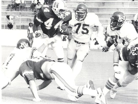 Joe Delaney (44) is shown during his Northwestern State