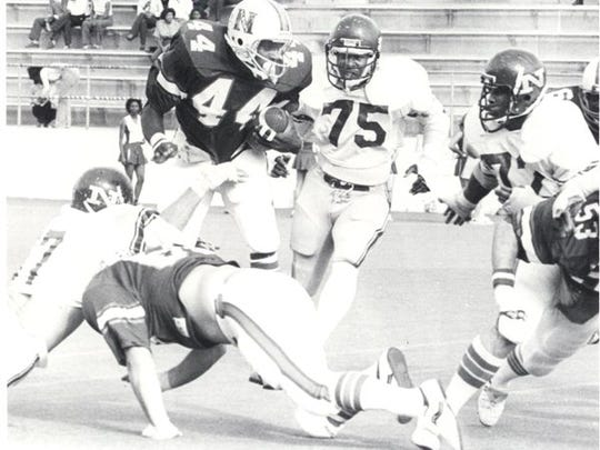 Joe Delaney (44) is shown during his Northwestern State playing career.