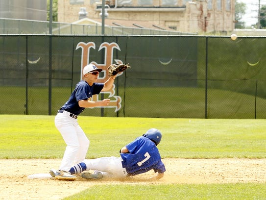 Brayden O'Connell slides safely into second for Horseheads