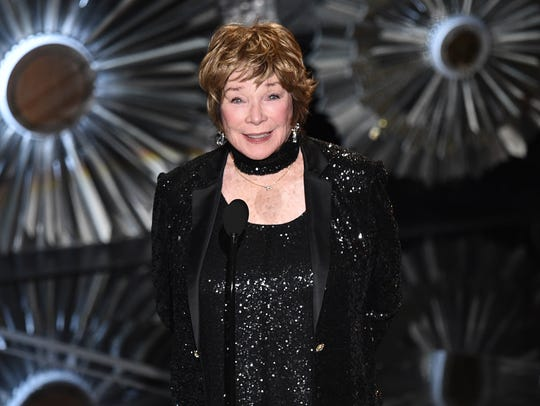 Shirley MacLaine speaks at the Oscars on Sunday, Feb.