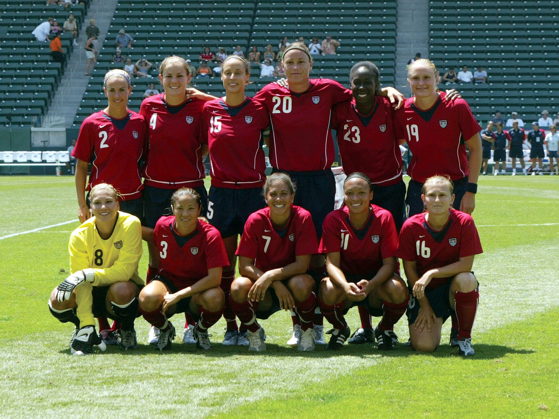 The United States' starting lineup against Iceland on July 24, 2005 included Abby Wambach (top row, center), and Christie Welsh (top row, right), the Massapequa player that defeated her in the 1997 state championship in heartbreaking fashion.