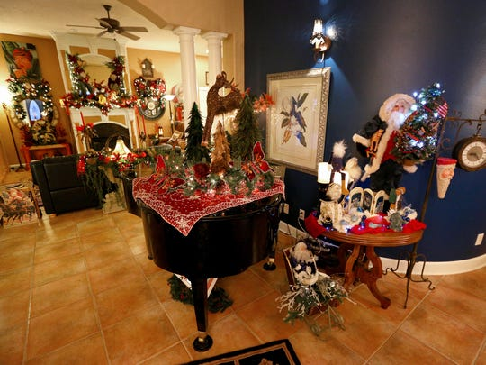 Christmas welcomes visitors who walk into the home of Tom Anderson and Tass Morrison in Sublimity.