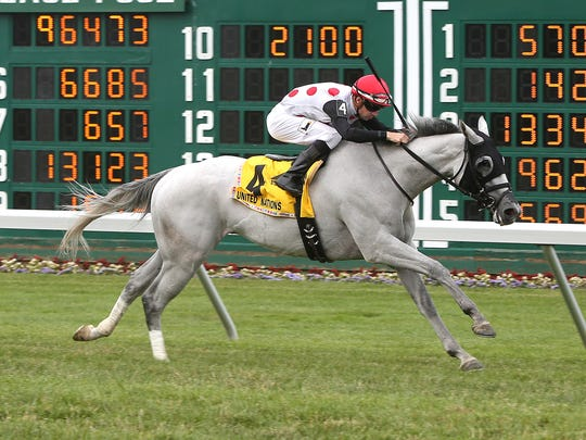 World Approval, with Florent Geroux, aboard, wins the Grade I $300,000 United Nations Stakes Sunday at Monmouth Park